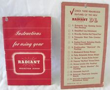 VINTAGE ORIGINAL COMPLETE 1930s OR 1940s RADIANT PROJECTION SCREEN GUIDE & TAG
