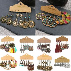 Ladies Boho Earrings Set 3 Pairs Retro Leaf Tribal Ethnic Drop Dangle Women Gift