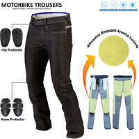 Vintage Men's Motorcycle Motorbike Denim Trousers Pants Protection Lined Jeans