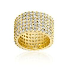 Yellow Gold Tone Round Cut Wide Pave Set Wide Row CZ Eternity Ring Band Size 6