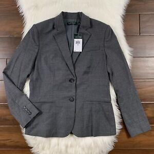Lauren Ralph Lauren Women's Size 8 Gray Two Button Blazer Jacket Wool Blend