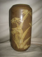 """Vincent Sansone 9"""" Tall Stoneware Pottery Vase Abstract Floral Tan and Brown"""
