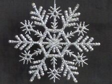 """Holiday Time Set of 20 Silver 4"""" Glittery Plastic Snowflake Hanging Ornaments"""
