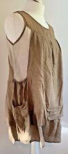 QUIRKY 100% Cotton Beige Brown Lightweight Pinafore Bag Peasant Dress UK 10