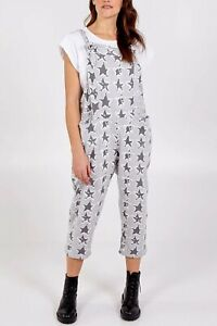 New Ladies Star/Leopard Print Jersey Dungaree Jumpsuits One Size (8-16) BNWT