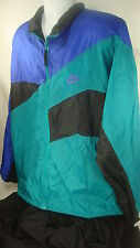 Nike 2XL Windbreaker Jacket Blue Black and Teal Polyester Nylon 90s