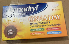 Benadryl One A Day Allergy Tablets (14) - Hayfever Dust Pet Allergy Relief 10mg