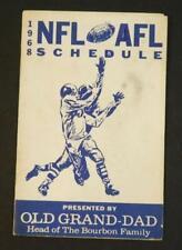 1968 NFL & AFL Pocket Football Schedule Old Grand Dad Bourbon