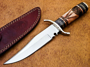HAND FORGED STAINLESS STEEL HUNTING KNIFE-ENGRAVED CAMEL BONE HANDLE-MP-7324