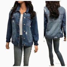 Women's Causal  Long Sleeve  Loose Fit Denim Jean Jacket(S-3XL)