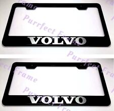 "2X ""VOLVO"" LASER Style Stainless Steel License Plate Frame Rust Free W/ Bolt Cap"