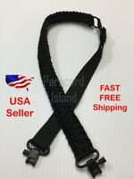 NEW All Black Adjustable 550LB Paracord Rifle Gun Sling Strap w/ Swivels Hunting