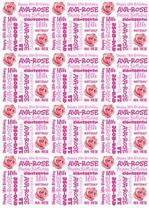 Personalised PHOTO, NAME AND AGE Birthday Wrapping Paper