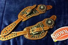New Showman Leather Floral Tooled Western Spur Straps with Crystal Concho #9092