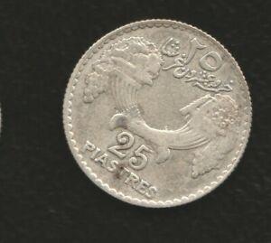 LEBANON 25 PIASTRES 1933 SILVER