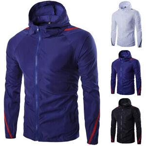 Mens Hooded Lightweight Windbreaker Coat Windproof Hiking Rain Jacket Hoodie Top