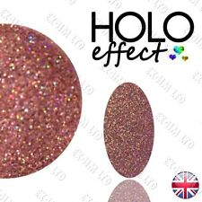 LASER PINK HOLO ROSE GOLD EFFECT Glitter NAIL ART POWDER Holographic < Blush 21