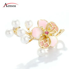 Fashion Women Pins Rhinestone Pearl Pink Peach Blossom Flower Brooch Pin Jewelry