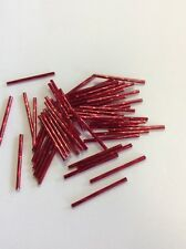 Czech Bugle Beads. 35 mm x 15 grams Silver Lined Red. (6)