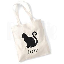 Gato Personalizado silueta Bolsa De Lona-Regalo para Mascota Gato propietario