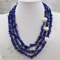 White Baroque Pearl lapis lazuli Necklace 18-20inch Mesmerizing Mala Energy Pray