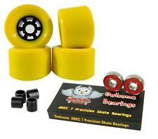 Owlsome Pro 83mm Longboard Yellow Flywheels + Abec 7 Bearings + Spacers