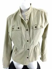 CLIO WOMENS TAN COTTON SNAP BUTTON CASUAL DRESSY JACKET SIZE 14