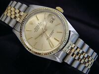 Rolex Datejust Mens 2Tone 18K Gold & Stainless Steel Watch Champagne Dial 16013