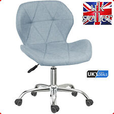 Adjustable Swivel Office Chair Computer Desk Fabric Chair Chrome Legs Lift UK