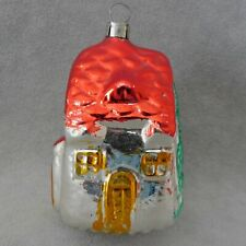Christmas Ornament Building Glass HOUSE Red Green PINE TREES RANA'S USA SELLER