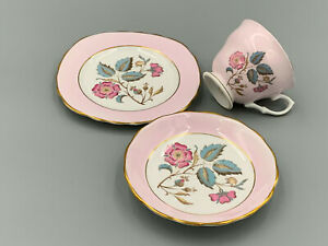 Vintage English Bone China Made in England Pretty Pink Floral Trio.