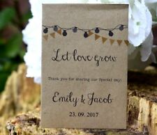 25 Wedding Personalised Seed Favours | Let Love Grow (seeds Included) Packets