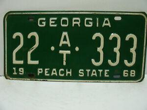 1968 Georgia License Plate    22 - AT - 333   Thomas Co.    Vintage  a9221