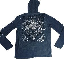 Affliction Shirt Longsleeve Hooded Mens Large 1/4 Button Black