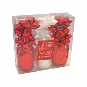 Christmas 12 Piece Gift Pack of Bows & Ribbons - Red & White