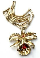 """Vintage Orchid Necklace with Red Rhinestones Gold Tone Vintage Jewelry 15"""" Long"""