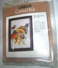 New Crewel Kit Vintage 1977 Cute Caron Mushrooms and Butterfly  6306