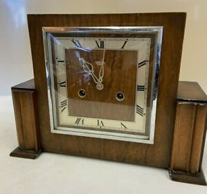 Vintage Smiths Enfield Wind Up Art Deco Style Mantle Clock & Key - WORKING (D5)