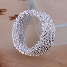 Wholesale Price Solid Silver Jewelry Mesh Men Woman Ring Size 8(or 6 7 9) R040