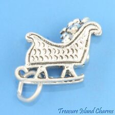 SANTA'S SLEIGH SLED 3D Christmas .925 Solid Sterling Silver Charm MADE IN USA