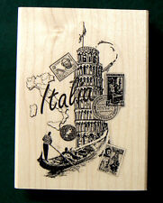 P7 Italia-Italy- collage rubber stamp WM 3x2.25""