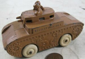 Vintage Manoil Barclay 2 Soldier On Armored Tank