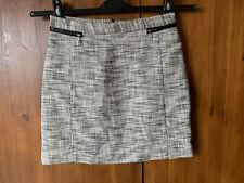 H&M TWEED MINI A-LINE SKIRT Black White Work Office UK 8-10 / 36-38 - NEW