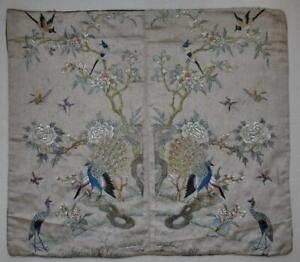 EXQUISITE ANTIQUE 19thC CHINESE HAND EMBROIDERED SILK CUSHION COVER
