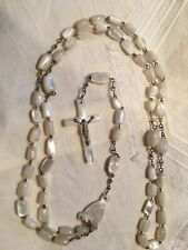 """Vintage Rosary Hand Carved Mother of Pearl Shell Beads from Jerusalem 22"""""""