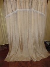 CROSCILL PARFAIT GOLD CHAMPAGNE FRINGED CRINKLED FABRIC SHOWER CURTAIN 72 X 75