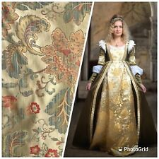 Back In Stock!!! Brocade Satin Floral Drapery Fabric- Antique Gold And Pink BTY