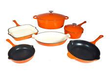 Le Chef 8-piece ALL Enamel Cast Iron Orange Cookware Set., on Sale!