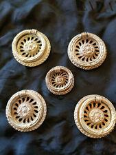 Antique Set of 5 Matching Drawer Pulls Solid Brass Circa 1900