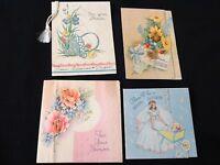#101 Vintage Lot Of 4 Bridal Wedding Shower Gift Enclosure Greeting Cards Great